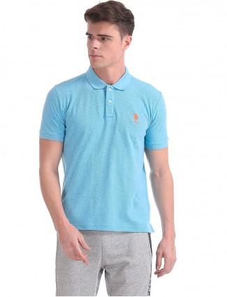 U S Polo presented aqua hue solid t-shirt