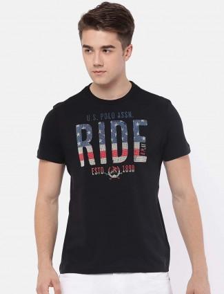 U S Polo printed black color t-shirt
