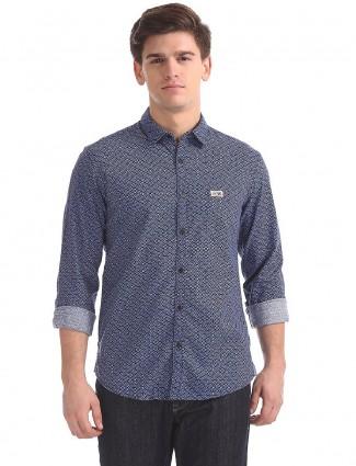 U S Polo printed blue cotton shirt