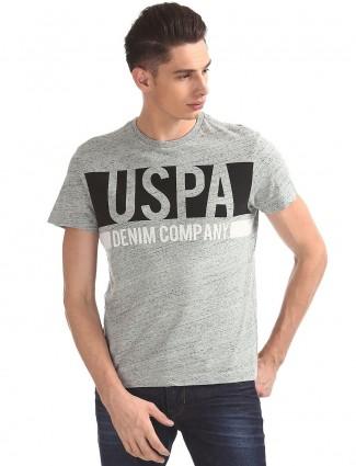 U S Polo printed grey t-shirt