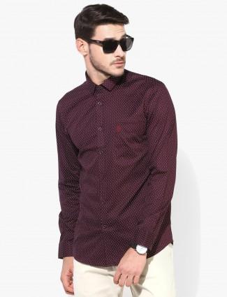 U S Polo printed maroon shirt