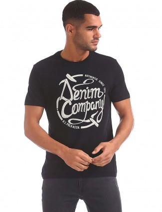 U S Polo printed mens black t-shirt
