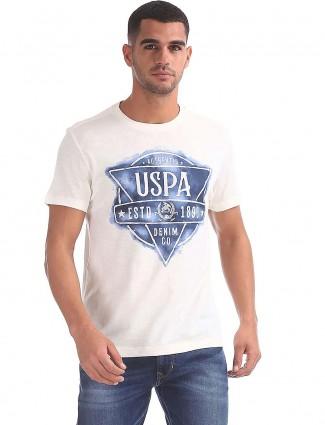 U S Polo printed off white hued t-shirt