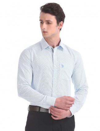 U S Polo printed white cotton shirt