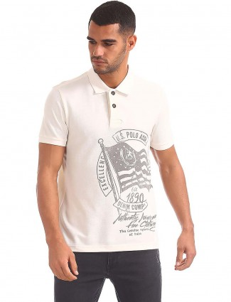 U S Polo printed white polo t-shirt