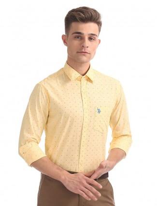 U S Polo printed yellow shirt