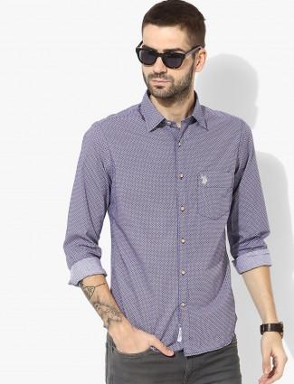 U S Polo purple color printed shirt