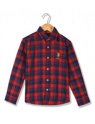 U S Polo red and navy checks shirt