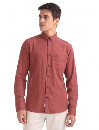 U S Polo rust orange color shirt