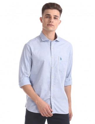 U S Polo sky blue casual shirt