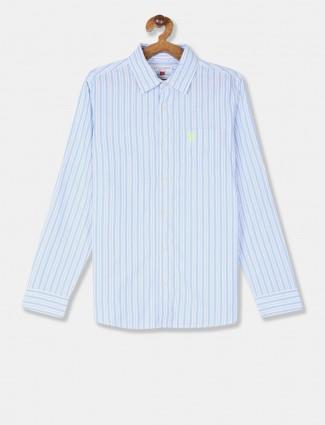 U S Polo Assn sky blue stripe shirt