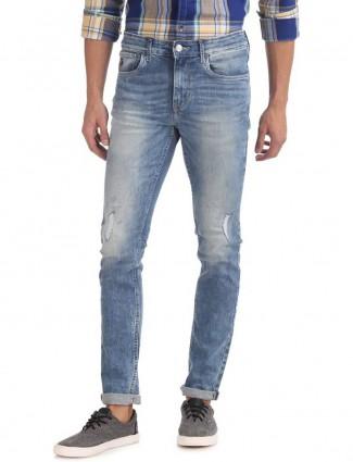U S Polo sky blue washed jeans