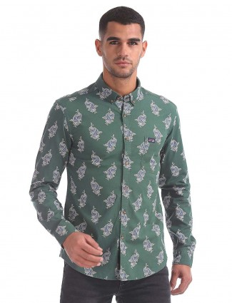 U S Polo slim fit green printed shirt