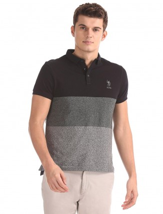 U S Polo solid black casual t-shirt