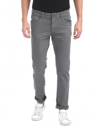 U S Polo solid grey color jeans