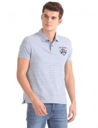 U S Polo solid grey t-shirt