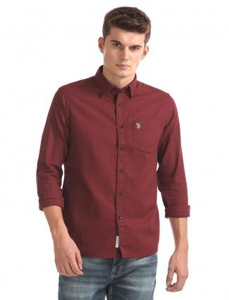 U S Polo solid maroon shirt