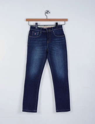 U S Polo solid navy casual jeans