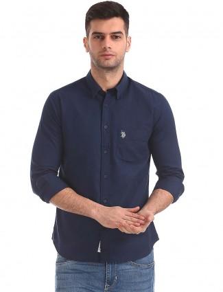 U S Polo solid navy slim fit shirt
