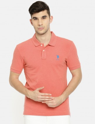 U S Polo solid pink t-shirt