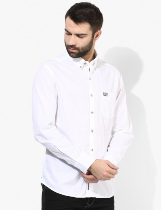 U S Polo solid white cotton casual shirt