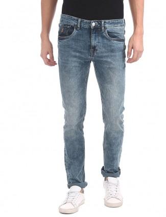 U S Polo washed light blue jeans