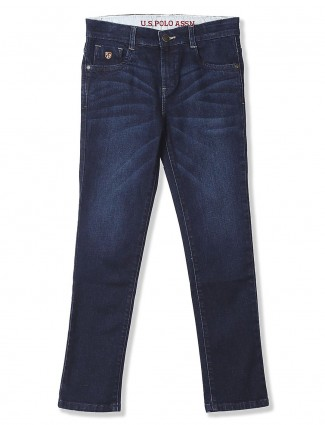 U S Polo whiskers effect navy hued jeans