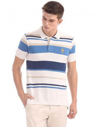 U S Polo white and blue stripe t-shirt