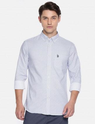 U S Polo white casual printed pattern shirt