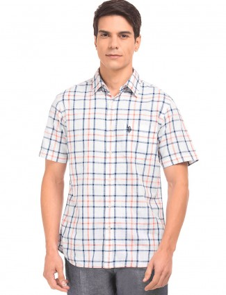 U S Polo white checks pattern shirt