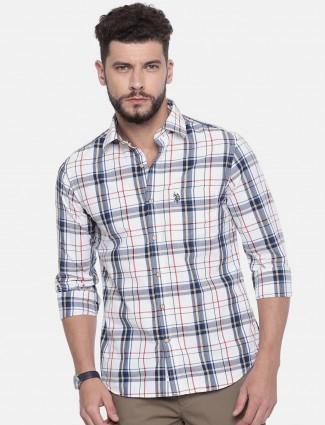 U S Polo white cotton checks shirt