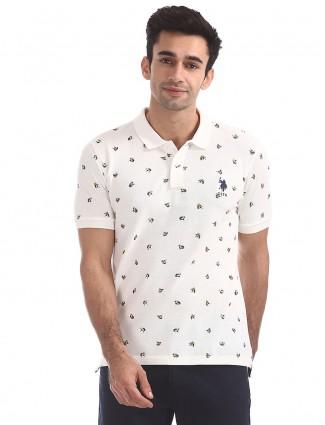 U S Polo white printed slim fit t-shirt