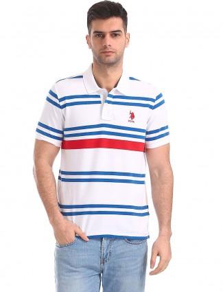 U S Polo white striped pattern t-shirt