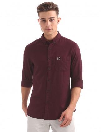U S Polo wine maroon cotton shirt