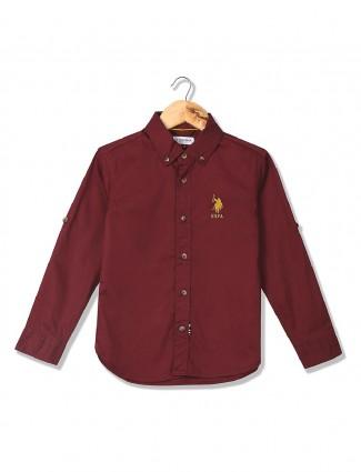 U S Polo wine maroon hue shirt