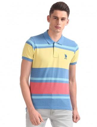 U S Polo yellow and blue stripe t-shirt
