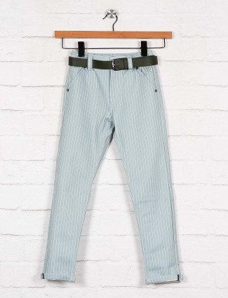 U-tex solid grey cotton casual trouser