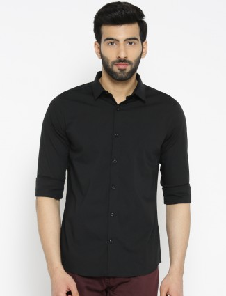UCB black hue plain cotton shirt