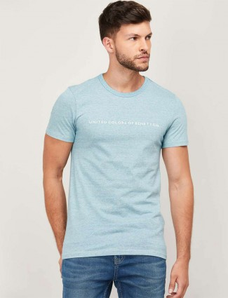 UCB blue casual wear men solid t-shirt