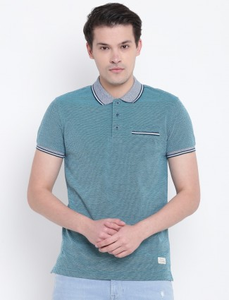UCB blue cotton fabric polo t-shirt