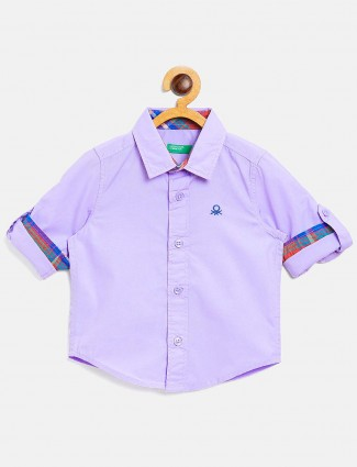 UCB casual wear solid violet shirt