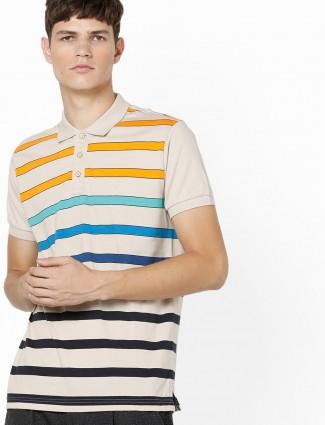 UCB cream color stripe slim fit t-shirt