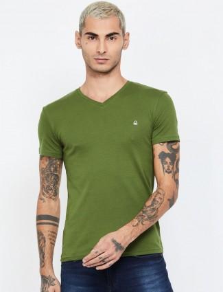 UCB dark green cotton solid t-shirt