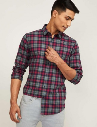 UCB magenta checks cotton casual shirt