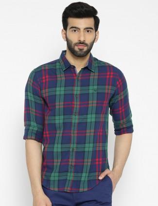 UCB navy hue checks cotton shirt