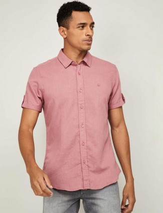 UCB pink linen casual wear solid shirt