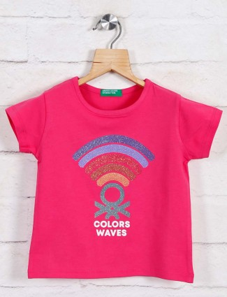 UCB printed cotton top for girls in pink