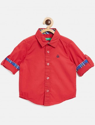 UCB red cotton fabric solid shirt