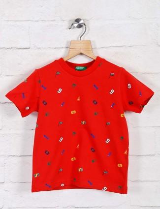 UCB red round neck cotton t-shirt
