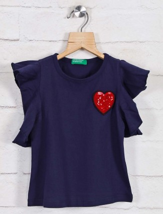 UCB Solid navy cotton round neck top
